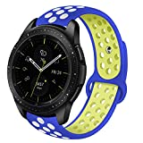 VIGOSS Gear Sport Band/Gear S2 Classic Bande 20 mm Morbido Silicone Watch Band Cinturino di Ricambio Traspirante Fitness Wristband for Samsung Gear Sport Smartwatch, Blue/Yellow