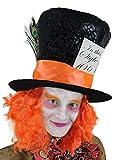 adulte fou chapelier chapeau W/Orange Cheveux PERRUQUE & noeud pour au pays des merveilles Comte de fées Fancy Dress accessoire