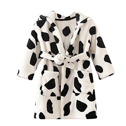 ECHERY Unisex Kinder Mädchen Jungen Kapuzen-Bademantel Weiche Coral-Fleece-Schlafanzug Morgenmantel Nachtwäsche Pajamas Größe 100 Kuh (Coral-robe)