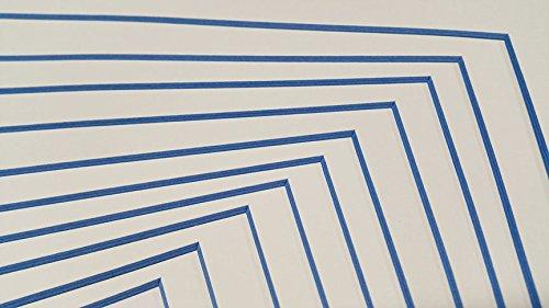 Crescent White Matte (Poster Palooza Custom Schnitt Bilderrahmen Matten mit Bunten Kerne 5x7 for 4x6 Photos White w/Blue Core Core)