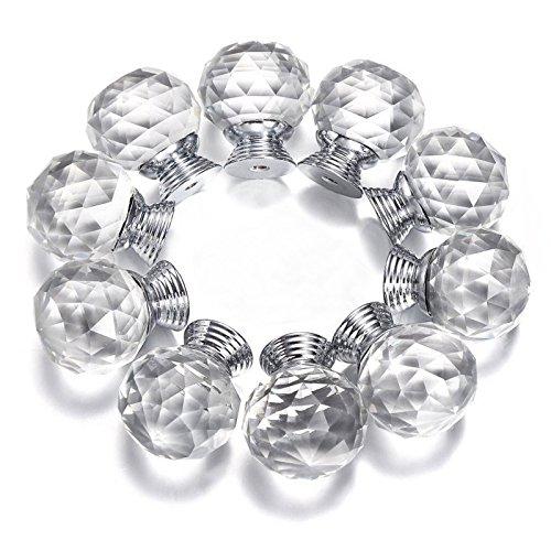 10 Schublade Breite Brust (probrico 20mm rund Glas Küche Schrank Knauf Diamant klar Möbel Schublade Schrank Griff Kristall Pull mit Schrauben psp04520tr, 10 PCS)