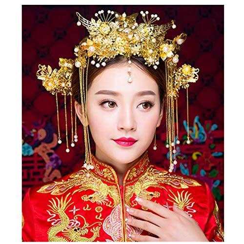 Set mit Ohrringen im chinesischen Nationalpalast-Stil, antikes Kostüm, Cheongsam-Perlen, Quasten, Kopfschmuck, 5 Stück (Chinesische Antike Kostüm)