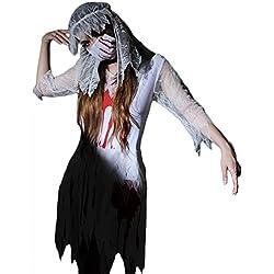 Fxwj Disfraz de Halloween Diablo novia mujer disfraces Zombie Alley Adultos cosplay Lencería babydoll Plus Size