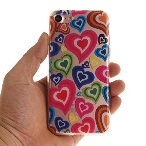 Pour iPhone 7G / 7 Coque,Ecoway Housse étui Flexible protection en TPU Silicone Shell Housse Coque étui creux Slim Case Cover Cuir Etui Housse de Protection Coque Étui iPhone 7G / 7 –magnolia Couleur de l'amour
