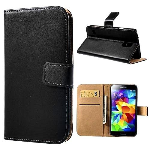 iKase - Samsung Galaxy S5 Echte Leder Etui Hülle Zum Aufklappen Mit Visitenkarten/Kreditkarten Halter & 2 Displayschutzfolien (S5-kreditkarten-etui Leder)