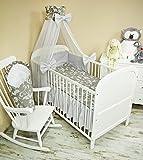Amilian® Baby Bettwäsche 5tlg Bettset mit Nestchen Kinderbettwäsche Himmel 100x135cm NEU Chiffonhimmel Retro Weiß auf Grau