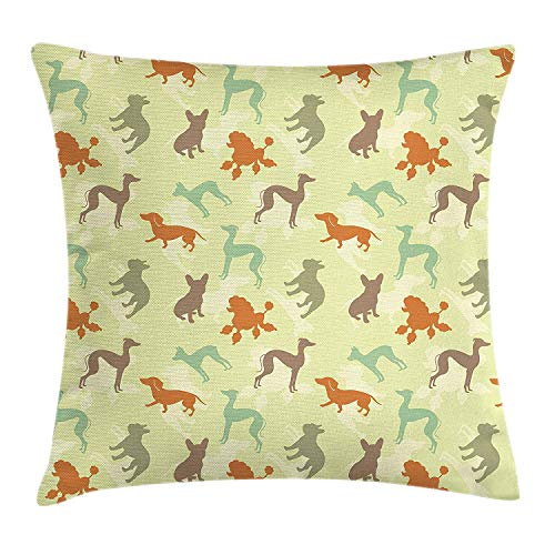Dog Lover Throw Pillow Cushion Cover, French Bulldog Greyhound Poodle Terrier Silhouette Pure Breed Animals Canine Type, Decorative Square Accent Pillow Case, 18 X 18 inches, Multicolor