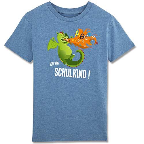 Einschulung - Ich Bin EIN Schulkind Feuerdrache - Bio T-Shirt für Jungen Erstklässler Kinder (7-8 Jahre 122-128 cm, blau meliert)