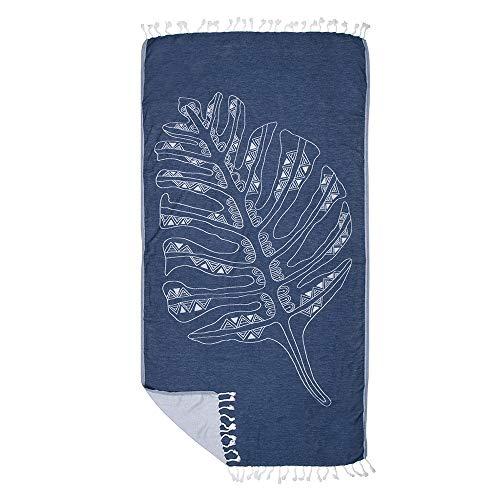 ZusenZomer Fouta Hamamtuch xl BLATT 100x185 Blau - Großes Hamam Handtuch Badetuch Saunatuch 100{cadceadd76d350a0139a1dfe52c8ca91950572285e472877e514fe055c37c33b} Baumwolle - Exklusives Design Hammam tücher