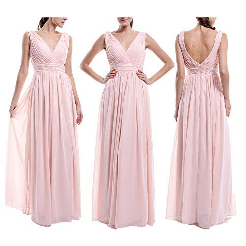 Find Dress Femme Sexy Robe Demoiselle d'Honneur pour Cocktail de Mariage/Fête Col en V Robe Longue Eté en Mousseline Bleu