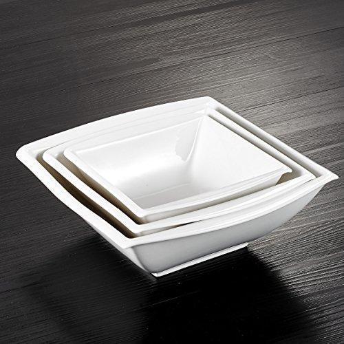 MALACASA, Serie Blance, 3 TLG. Porzellan Schüsseln Set Salatschüsseln Suppenschale 9,25/8 / 6,75 Zoll Cremeweiß (Schüssel Set Porzellan)