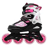 No Fear Kids Children Girls Spirit Inline Skates Roller Blades Sports Black/Wht/Pink UK 4-6.5