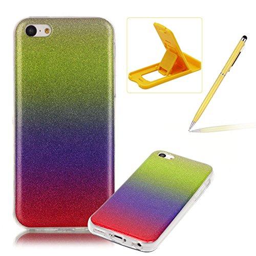 iPhone 5C Hülle Weiches Silikon Glitzer Schutzhülle Tasche Case,iPhone 5C Hochwertig Leicht Gummi Schutz Hoch Handyhüllen Schale Etui,Herzzer Modisch Luxus Silikon Bunt Hülle [Farbverlauf Gradient Far Lila und Rot