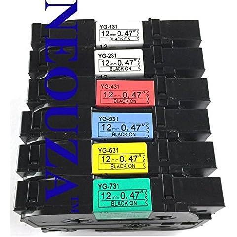 ACD - Set di cartucce per nastri ed etichette, compatibile con stampanti Brother P-Touch TZe, TZ131, TZ231, TZ431, TZ531, TZ631, TZ731, 12 mm x 8 cm, confezione da 6