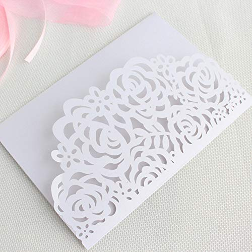 ZheQR Silver envelopes for Invitations Rose Laser Cut tri-fold Pocket Rural Card Invitation Set RSVP Personalized Printing,White,Customized Printing (Einladungen White Pocket)
