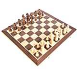 Festnight Portable Wooden Magnetic Chessboard Folding Board Chess Game International Chess Set For Party Family Activities