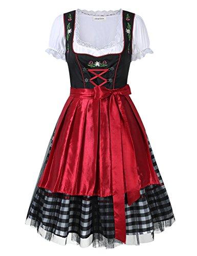 Clearlove Dirndl 3 tlg.Damen Midi Trachtenkleid für Oktoberfest- Spitzen Kleid, Bluse & Schürze-...