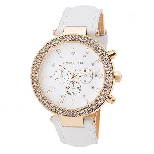 David Lenox Gold Ton Damen Uhr mit weißem Lederband Style dl0234