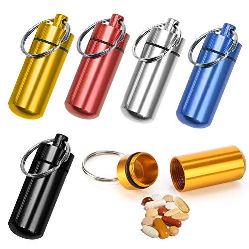 BUYGOO 6PCS Pillenbox Pillendose Tablettenbox - Aluminium Mini Pille Box ca. 48x17mm mit Schlüsselanhänger wasserdicht Medizin Pillendosen für Reise Camping Angeln Speicherung Aluminium-mini-box