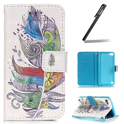 iPod touch 5/iPod touch 6 Custodia, Ukayfe 2016 Modello Bumper Slim Folio Protectiva Custodia portafoglio / wallet / libro in pelle - 3D Disegni Retro Ciliegio Modello Sollievo Con Cinturino da Polso  Piume Colorate