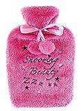 WItZiGE große Kuschel Wärmflasche mit Spruch - Snoozing Beauty - Schlafe Schönheit - rosa / Wärmeflasche / Hot Water Bottle / 2 Liter