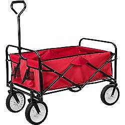 TecTake Chariot de transport à main Remorque de jardin pliable | 95 x 53,5 x 117 (LxBxH) | -diverses couleurs au choix- (Rouge | no. 400906)