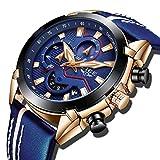 Hommes Montres Sport Militaire Analogique Quartz Montre Hommes Mode Étanche Chronographe Grand Cadran en Cuir Bleu Montre Bracelet