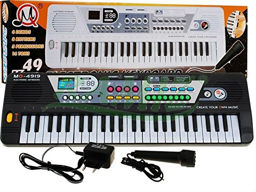 Keyboard MQ-4919 mit Aufnahme-Funktion und Mikrofon - 16 Sounds und 8 Rythmen, Lautsprecher, Lautstärkeregler, 49 Tasten - Electric Piano