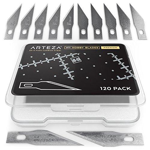 Arteza # 11 Hobbymesser-Klingen | 120 Skalpellklingen | Bastelmesser-Klingen aus Robustem SK-5-Stahl | Spitze Skalpell-Klingen in Praktischer Aufbewahrungs-Box