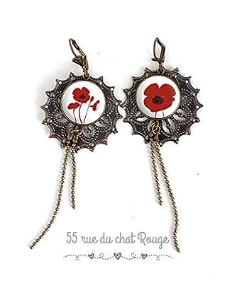 Boucles d'oreilles cabocho asymétrique, Fleur rouge, Coquelicots rouge