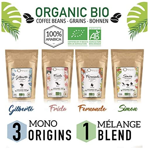 ☘️ Organic Coffee Beans | Arabica Whole Beans 4x250g | Hand-Roasted | Coffee Gift Idea