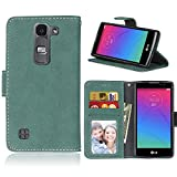 LG Spirit 4G LTE H440N / H420 Case Leather, Ecoway Retro Scrub PU Leather Stand Function Protective Cases Covers with Card Slot Holder Wallet Book Design for LG Spirit 4G LTE H440N / H420 - green