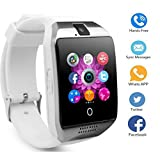 Smart Watch Telefon, TKSTAR Touchscreen Q18 Android Smartwatch Smart Geschäft Uhr Smart Watch Telefon Bluetooth Smartwatch Damen Herren Unterstützung SIM TF Karte Smartwatch (Weiß)