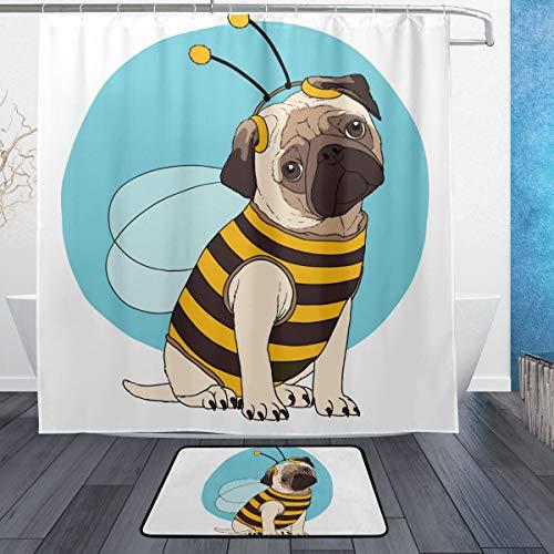 lustige Mops-Kostüm, Bienen-Muster, Badematte mit Polyester, schimmelresistent, Duschvorhang-Set, 2 Stück, maschinenwaschbar ()