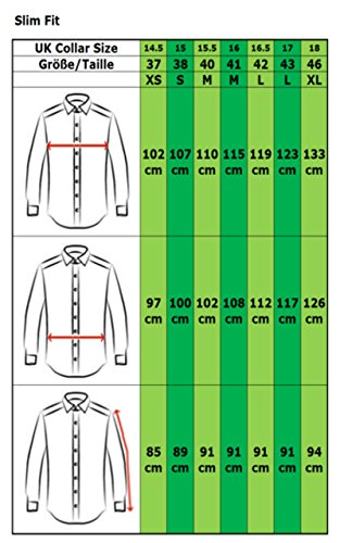 Image of COLLAR AND CUFFS LONDON - ULTIMATE NON-IRON - Luxury 100% Cotton - Fit Guaranteed - Twill Fabric - Men's Shirt - Long Sleeve - Blue - Slim Fit, Double Cuff - Plain Pattern - B 15.5