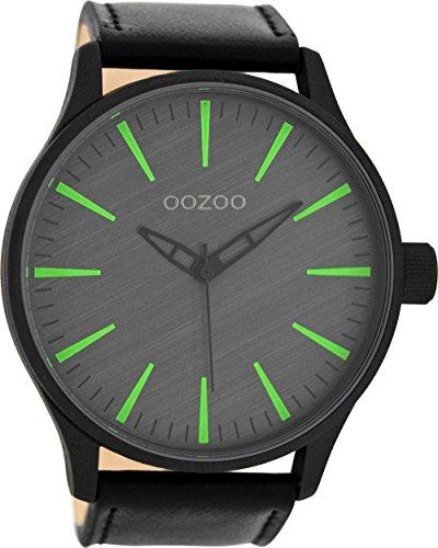 Oozoo Herrenuhr mit Lederband 51 MM Dunkelgrau/Schwarz C8278