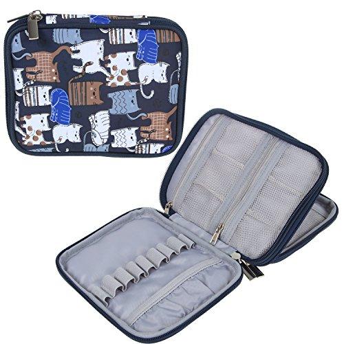 Teamoy Custodia impermeabile Organizzatore cerniera per Crochet Ganci e accessori, Cats Blue(No Accessori inclusi)