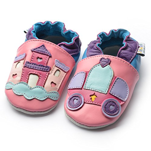 Jinwood designed by amsomo - Jungen - Maedchen - Hausschuhe - ECHT LEDER - Lederpuschen - Krabbelschuhe - soft sole / mini shoes div. Groeßen dream castle pink soft sole