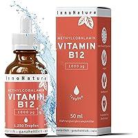 Vitamin B12 (Methylcobalamin) Tropfen (1000 µg pro Portion / 200µg pro Tropfen), 1.250 Tropfen in 50ml Flasche als 8 Monatsvorrat. Frei von Konservierungsstoffen. Vegan, hochdosiert, hergestellt in DE