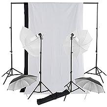 4x 32'' fotografia Paraguas Light Studio Kit + 2 telón de fondo 3x1.6m (negro blanco) + 2x2.8m sistema soporte continua Iluminación Kit para estudio