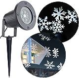 Bloomwin Projecteur Exterieur LED flocon de neige blanc étanche à l'eau IP44 LED Lampe de Projecteur Lumière extérieur intérieur Noël/ Party / Anniversaire