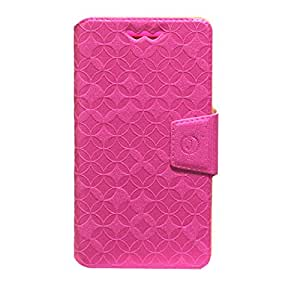 J Cover Aarav Series Leather Pouch Flip Case With Silicon Holder For Lyf Water 1 Pink