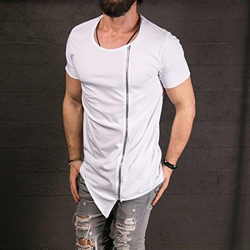 QIYUN.Z Männer Sommer Beiläufige Kurze Hülse Unregelmäßige Saumreißverschlussart Und Weise T-Shirts T-Stücke Weiß