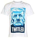 PALLAS Men's Donald Trump Twitler T Shirt -PA451 (White ,M)