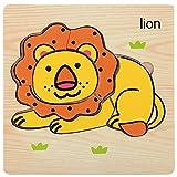 MMLC Schichtenpuzzle Kinderpuzzle mit Grundplatte Puzzleteilen, Teile und Platte aus Holz, Puzzlespiel für Kinder ab 18+ Monaten, Legespiel für Kleinkinder (E)