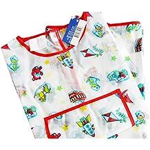 El delantal infantil VORCOOL Bata Delantal impermeable largo sleeved diseño de pintura para niños ()