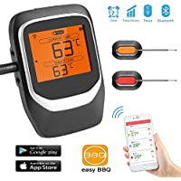 Termómetros de Cocina, SendowTek Digital Inteligente Termómetros para Carne BBQ con LCD Pantalla, APP Bluetooth Remote con Alarma, Ahorro de Espacio Trasero Magnético,Varias Sondas (2 Sondas)