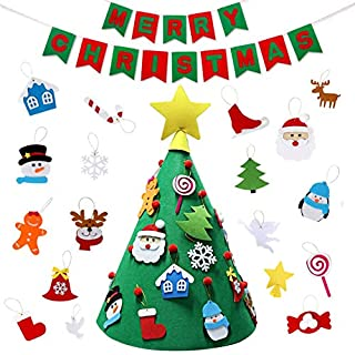 ASTA 3D Felt Christmas Tree DIY Set, with Merry Christmas Felt Banner Wall Hanging Christmas Decorations Xmas Gifts for Child