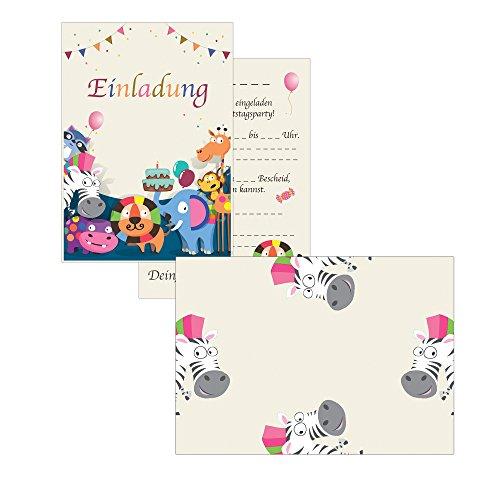 15 Einladungskarten Kindergeburtstag tiere Safari Geburtstagseinladungen Einladungen Geburtstag Kinder Jungen Mädchen (15 Karten mit 15 passenden Umschlägen Briefumschlägen) (Einladungen Safari-geburtstags-party)