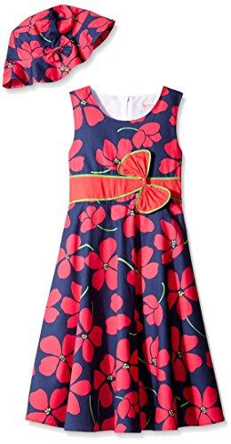 2 Pecs Girls Dress Sunhat Bow Tie Flower Summer Beach Size 4-12 Years